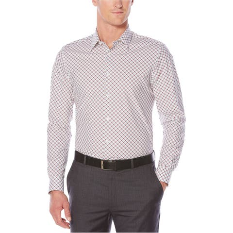 Perry Ellis Mens Printed Button Up Shirt, Red, X-Large