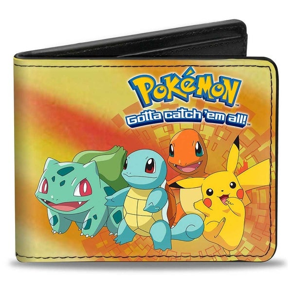 Pokmon Pikachu & Kanto Starters Group + Pok Ball Yellows Orange Blue Bi Bi-Fold Wallet - One Size Fits most