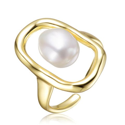 Sterling Silver Gold Plated with Freshwater Round Pearl Ring