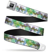 Superman Black Silver Super Shield Floral Design White Greens Webbing Seatbelt Belt
