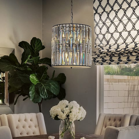 Interior Matt Black Glam Crystal Drum Chandelier Island Pendant Lamp