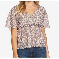 CeCe White Women's Size Medium M Surplice Floral Print Blouse