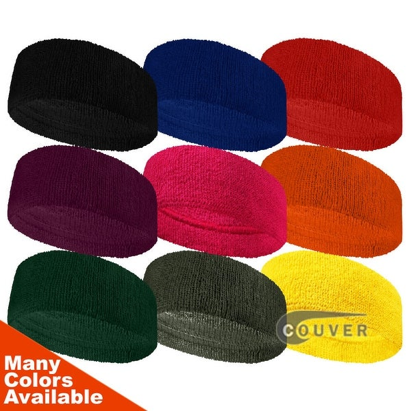 Couver 3 inch Wide Terry Headbands for Fashion, Spa & Sports [3 Sets]