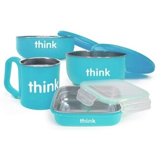Thinkbaby Feeding Set - BPA Free - The Complete - Light Blue - 1 Set Bowls and Utensils