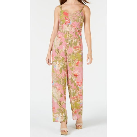Guess Multi Womens Floral Wide-Leg V-Neck Jumpsuit