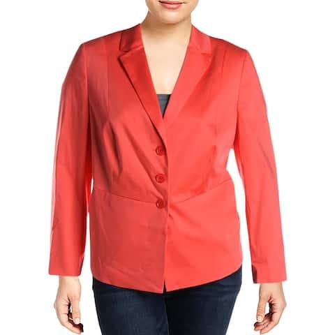 Basler Womens Plus Three-Button Blazer Notch Collar Office - Orange