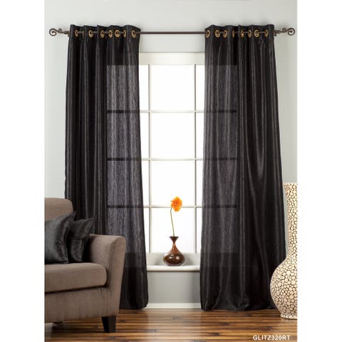 "Black Ring / Grommet Top Textured Curtain / Drape / Panel - 84"" - Piece - 43 X 84 Inches (109 X 213 Cms)"