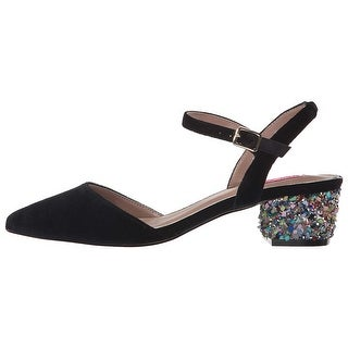 Betsey Johnson Womens lena Fabric Pointed Toe Special Occasion Slingback Sand...