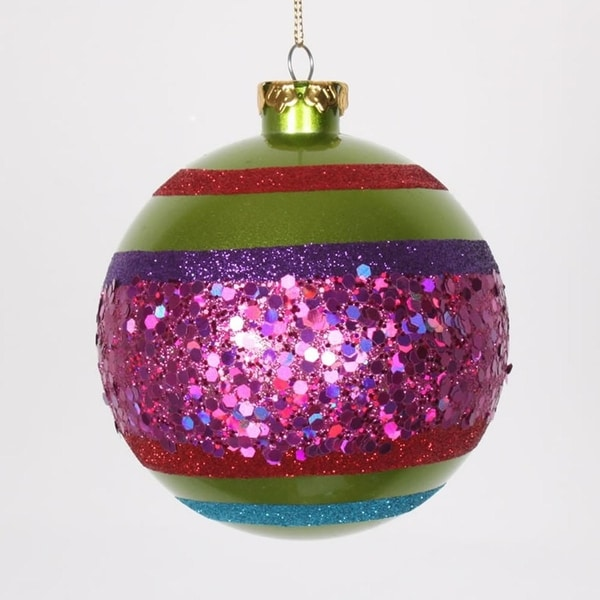 """4ct Lime Green and Cerise Pink Shatterproof Christmas Glitter Ball Ornaments 4"""" (100mm)"""