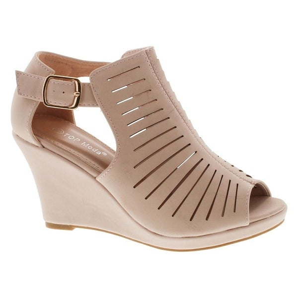 Top Moda Nelly-1 Women's Gladiator Open Toe Wedge - Blush