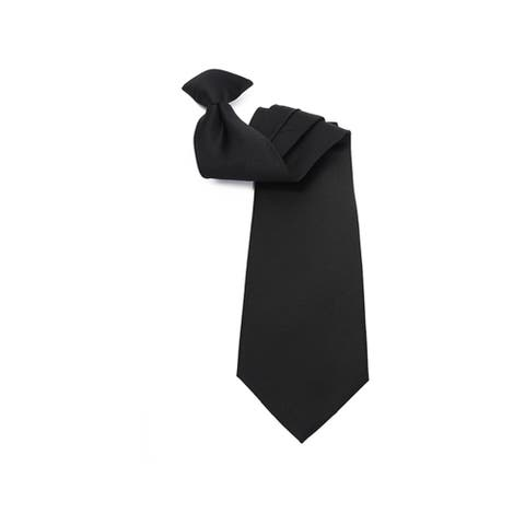 """Men's Solid Color 19"""" Clip On Neck Tie - One Size"""