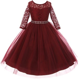 Classic Lace Pageant Wedding Flower Girl Dress Burgundy MBK 372 (5 options available)