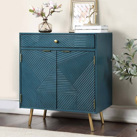 """Modern 2-Door Accent Cabinet Sideboard Storage Shelf with Drawer for Living/ Dining Room Gold Finish - W18""""x L28""""x H32.5"""""""