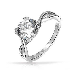 Bling Jewelry Sterling Silver Twist Round 2ct Solitaire CZ Engagement Ring