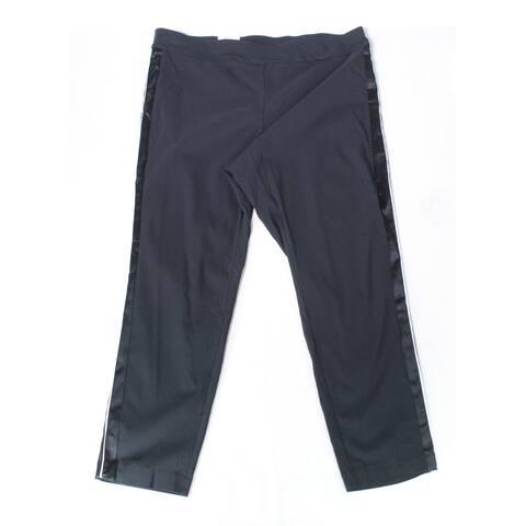 INC Women's Black Size 22W Plus Side Striped Dress Pants Stretch