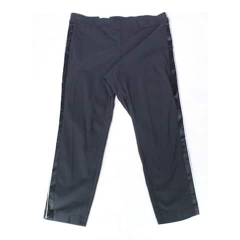 INC Women's Dress Pants Black 14W Plus Stretch Satin-Stripe Pull-On