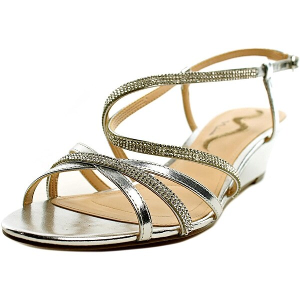 Nina Franya Women Open-Toe Leather Silver Slingback Sandal