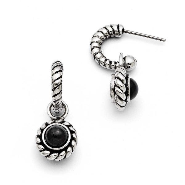 Chisel Stainless Steel Reversible CZ and Black Onyx Post Earrings