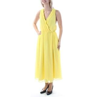RACHEL ROY $159 Womens New 1207 Yellow Ruffled Sleeveless Blouson Dress 6 B+B