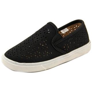 Laura Ashley Flower Cutout Sneaker Youth Moc Toe Synthetic Black Boat Shoe