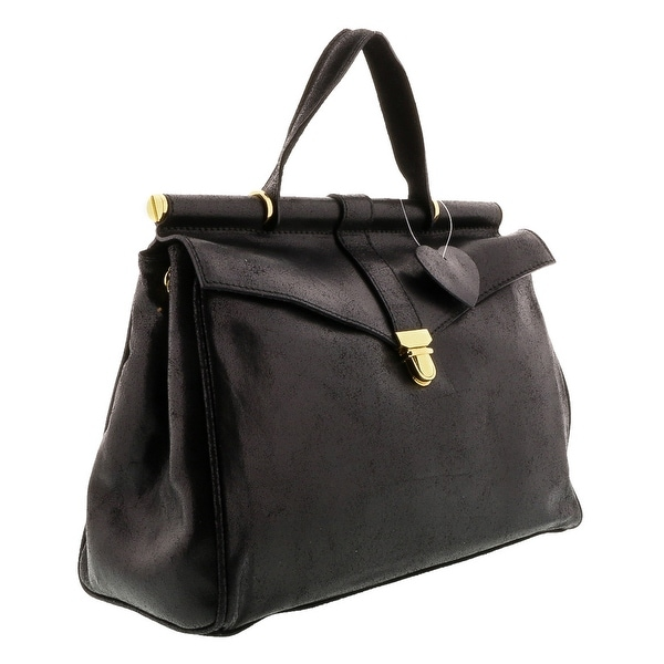 HS2071 VIVI Black Leather Top Handle/Shoulder Bag - 19-9.5-5