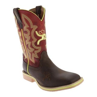 Twisted X Boots Children's YHY0005 Cowkid's Hooey Cowboy Boot Crazy Horse/Red Leather