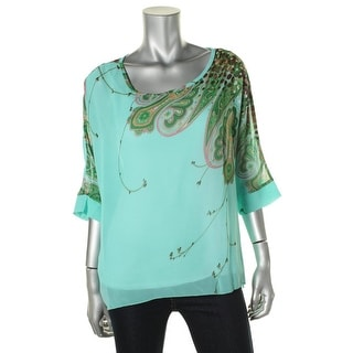 Allegra K Womens Printed Sheer Pullover Top - XS