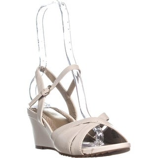 Easy Spirit Laralee Peep Toe Ankle Strap Wedge Sandals, Ivory - 9 us