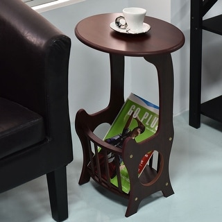 Costway Oval End Table Coffee Couch TV Snack Chair Sofa Tray Side Wood w/ Magazine Rack
