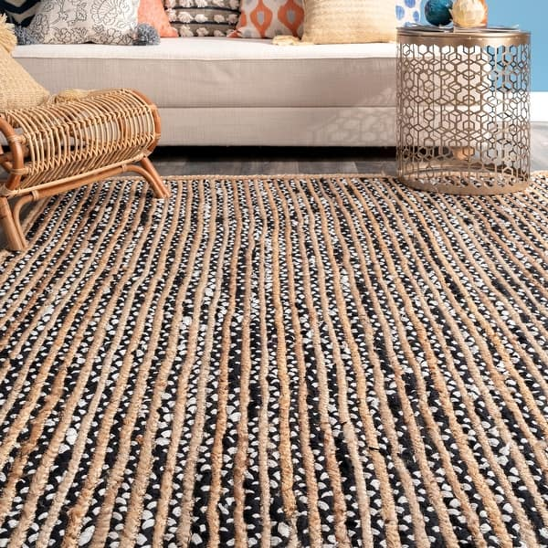 Nuloom Black Casual Natural Fiber Jute And Cotton Pinstripes Area Rug On Sale Overstock 16633422