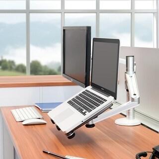 Heavy Duty Aluminum Alloy Adjustable Dual Arm iPad and Laptop Desktop Mount with Clamp