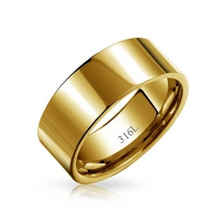 Bling Jewelry Gold Plated Stainless Steel Unisex Wedding Band 8mm