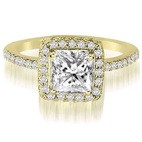 1.50 cttw. 14K Yellow Gold Princess And Round Cut Diamond Halo Engagement Ring