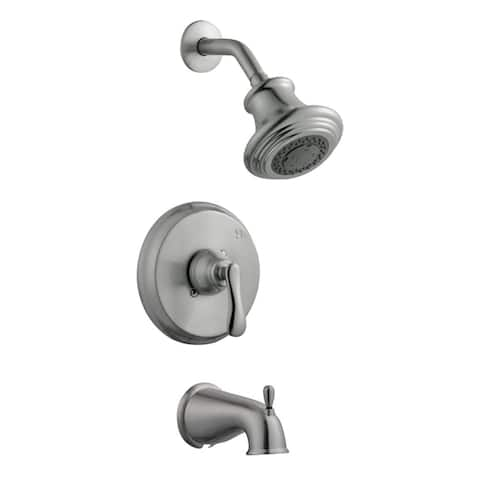 Design House 525782 Tub and Shower Trim Package with Multi-Function Shower Head and Tub Spout - Satin Nickel