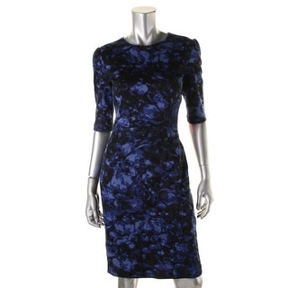 Betsey Johnson Womens Floral Print Ponte Wear to Work Dress