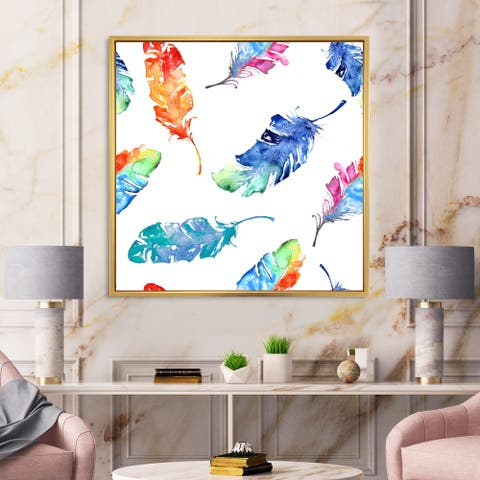 Designart 'Ethnic Blue Feathers' Bohemian & Eclectic Framed Canvas Wall Art Print