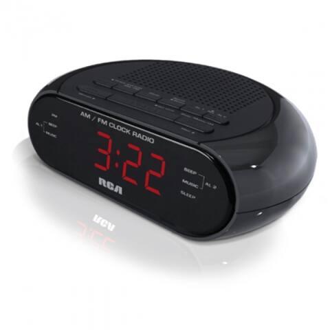 "RCA RC205 Dual Wake AM/FM Radio Alarm Clock with 0.6"" Red LED Display, Black"