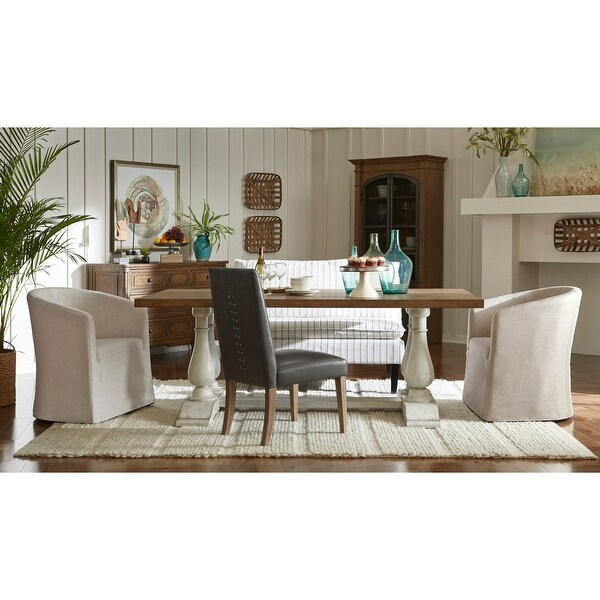 Lightly Distressed 2-tone Rectangular Oak and White Dining Table. Opens flyout.