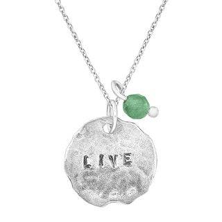 'Live' Charm Pendant with Natural Aventurine in Sterling Silver - Green