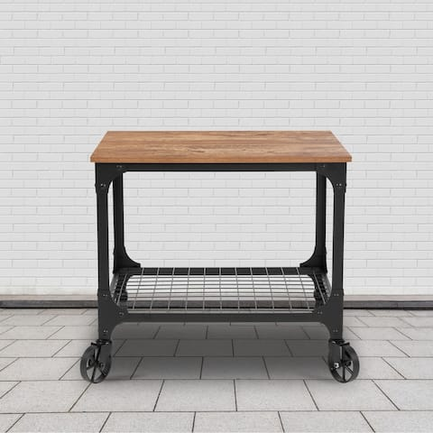 Industrial Rustic Wood Grain Kitchen Bar Cart with Wire Rack Bottom