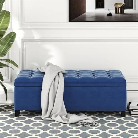 Merax Upholstered Flip Top Storage Bench with Button Tufted Top