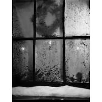 Frosted Window with Christmas Decoration Behind Poster Print - 18