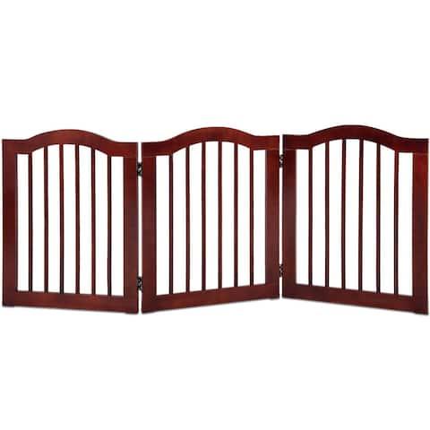 "3 Panels Folding Freestanding Wood Pet Dog Safety Gate-24"" - Brown"