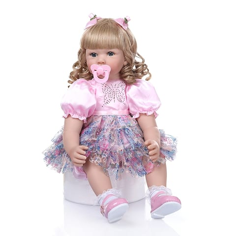 "24"" Beautiful Simulation Baby Golden Curly Girl Wearing Print Skirt Doll - 22"""