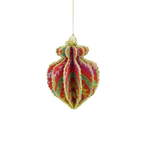Bohemian Holiday Blush Red Bright Funky Floral Print Gold Glittered Sliced Onion Finial Ornament 4""