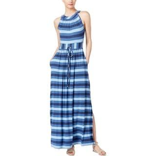 Calvin Klein Womens Maxi Dress Striped High Waist
