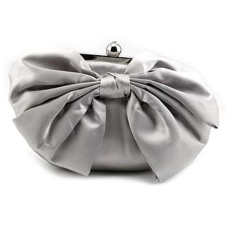 Jessica McClintock Oversized Bow Pouchette Women Satin Evening Bag - Silver