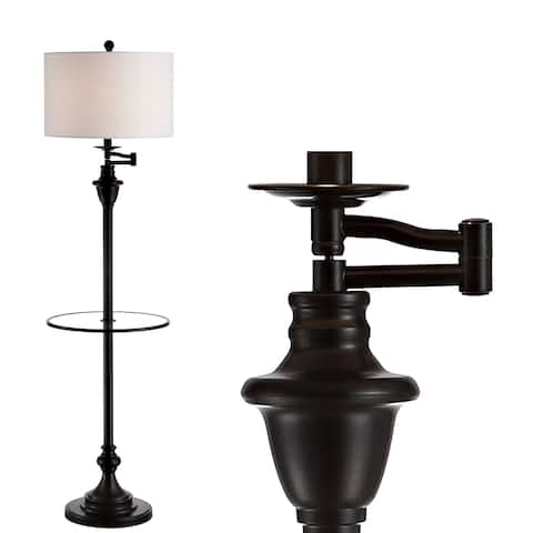 """Cora 60"""" Metal/Glass LED Side Table and Floor Lamp,ORB by JONATHAN Y - 60"""" H x 16"""" W x 16"""" D"""
