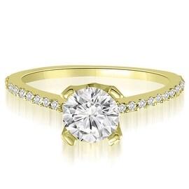 0.82 cttw. 14K Yellow Gold Classic Petite Round Cut Diamond Engagement Ring