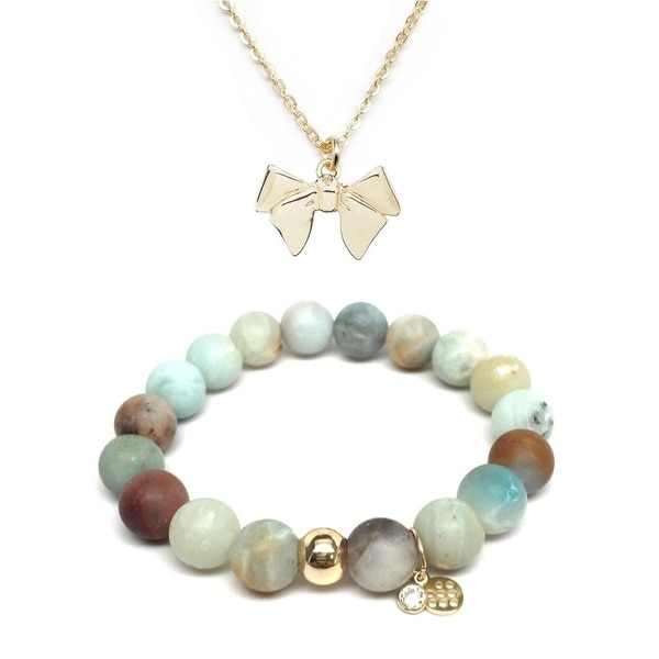 "Green Amazonite 7"" Bracelet & Bow Gold Charm Necklace Set"